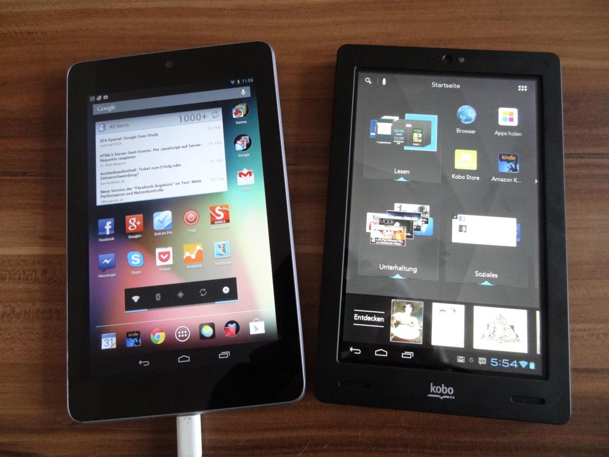 Nexus 7 neben Kobo Arc