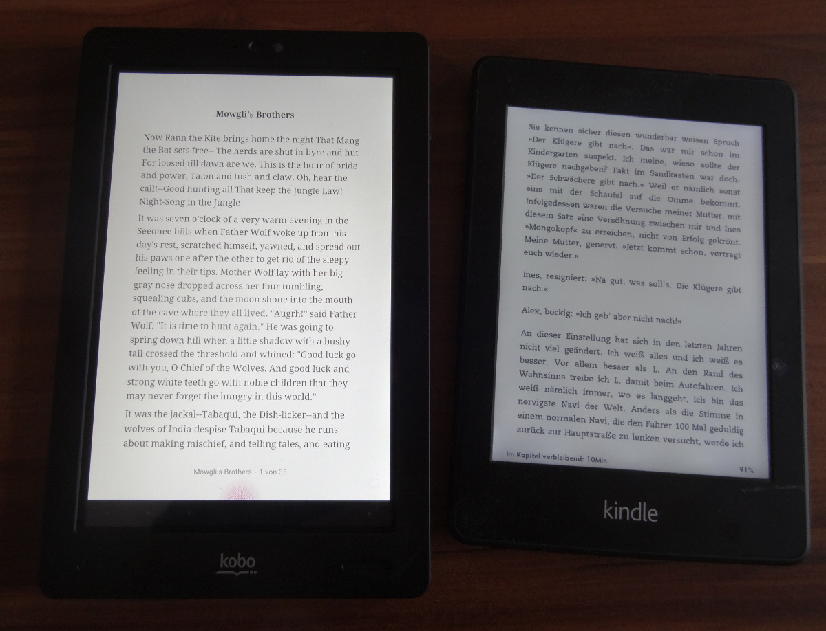 Text auf Kobo Arc, Kindle Paperwhite