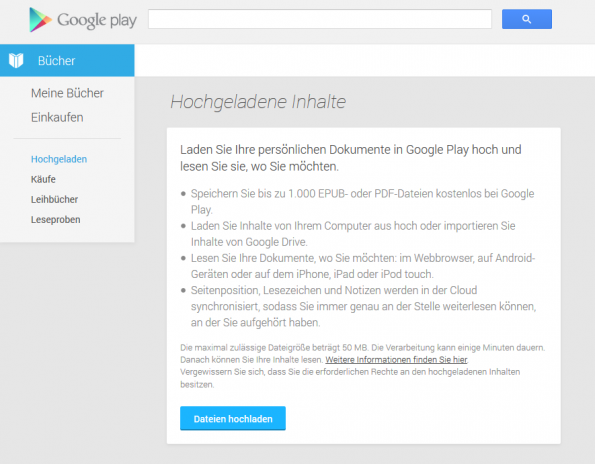 Upload-Funktion im Google Play Store