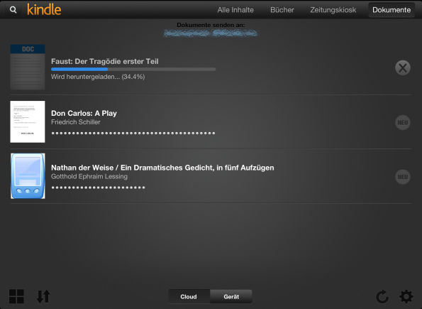 Kindle App for the iPad - sync from the cloud