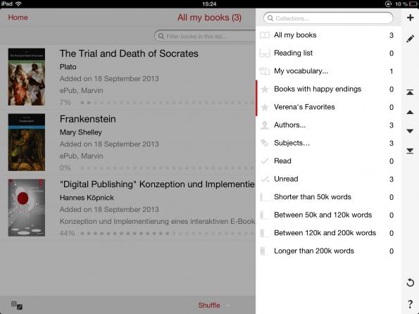 Marvin bietet verschiedene Sortiermöglichkeiten. Rot markiert sind normale Listen, alles andere sind Smart Lists, zu denen sich die eBooks automatisch selbst hinzufügen