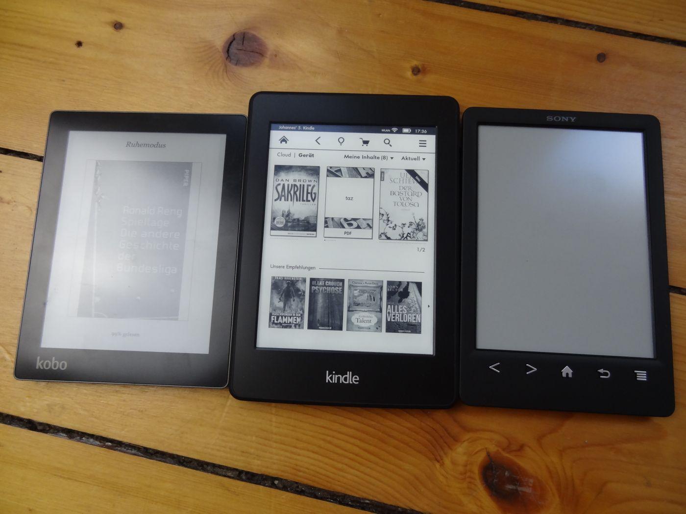 Kobo Aura, Kindle Paperwhite 2, Sony Readers PRS-T3 (von links)