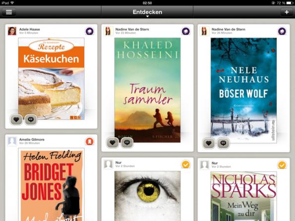 Liken und Kommentieren kann man bei jedem Buch unten links. Das Icon rechts oben gibt an, in welche Liste es einsortiert wurde
