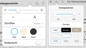 Darstellungsoptionen bei iBooks (links) und Kindle (rechts)