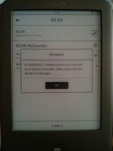 Tolino Shine schluckt das WLAN-Passwort nicht - Warten kann helfen.