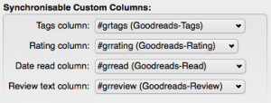 Zuordnung der eigenen Spalten zu Goodreads' Daten.