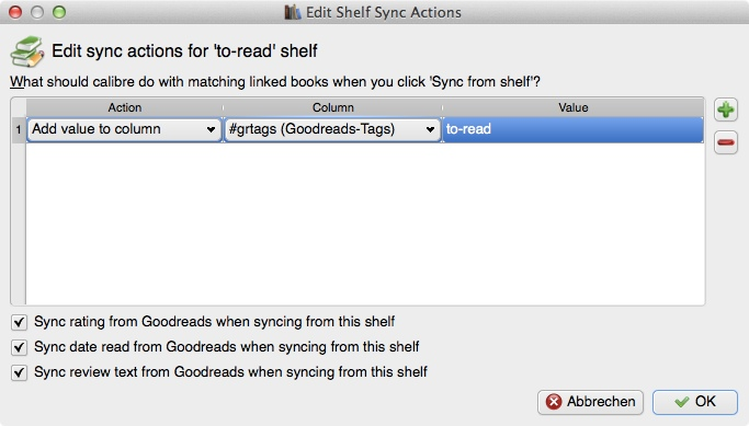 """Regal """"to-read"""", """"Shelf Sync Actions"""""""