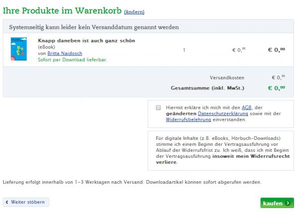 Thalia.de: Ohne Verzicht auf Widerruf keine Bestellung.