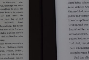 Kindle PW 2 links, Kobo Aura H2O rechts (100% Beleuchtung)