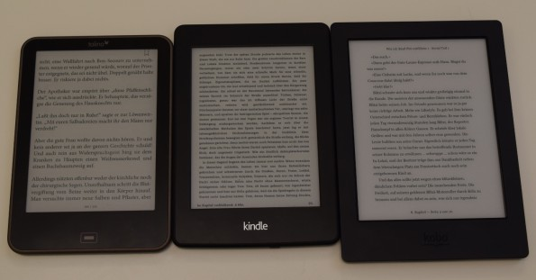 Tolino Vision, Kindle Paperwhite 2, Kobo Aura H2O (alle 0% Beleuchtung)