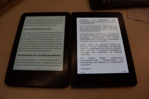Tolino Vision 2 left, Kindle Voyage to the right (100% brightness)