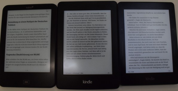 Tolino Vision 2, Kindle Paperwhite 2, Kindle Voyage (von links nach rechts, alle 100% Beleuchtung)