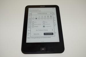 Optionen zur Textanpassung beim Tolino Vision 2