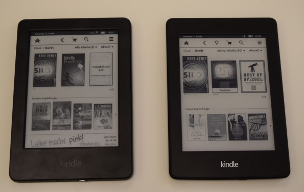 Kindle (2014) links, Kindle Paperwhite 2 rechts