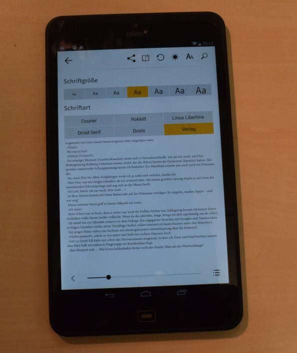 Anzeigeoptionen in Tolino-App