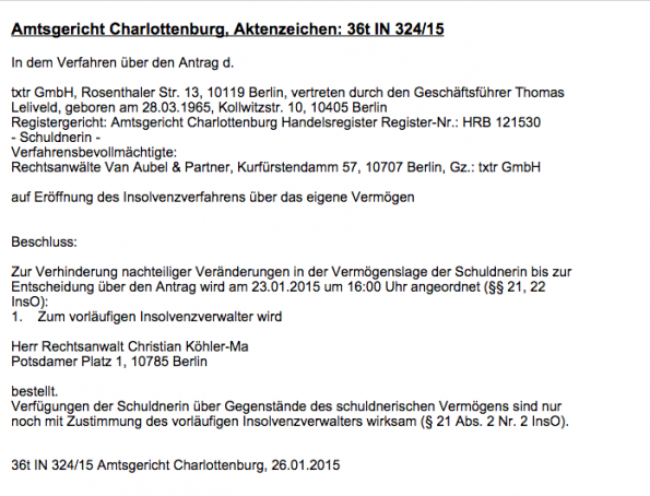 Insolvenzbekanntmachung des Amtsgericht Charlottenburg