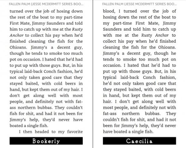 Bookerly und Caecilia im Vergleich.  Screenshots von DreamWriter, Mobileread