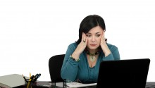 shutter woman computer