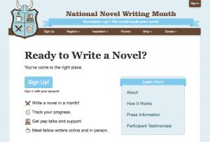 Titelseite von NaNoWriMo.org