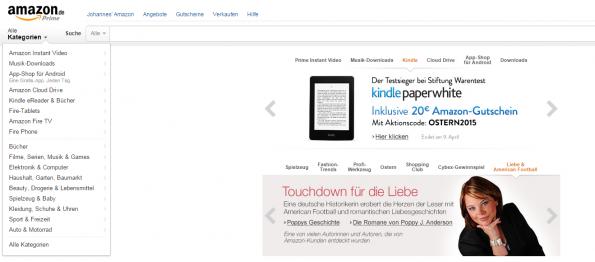 Aktuelle Amazon.de Startseite