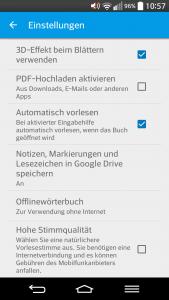 Synchronisierung über die Einstellungen von Google Play Books