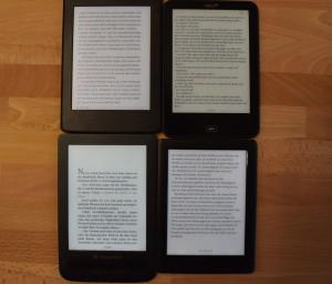 100% Beleuchtung: Kindle PW 3 o.l., Tolino Vision 2 o.r., PTL 3 u.l., Kobo Glo HD u.r.