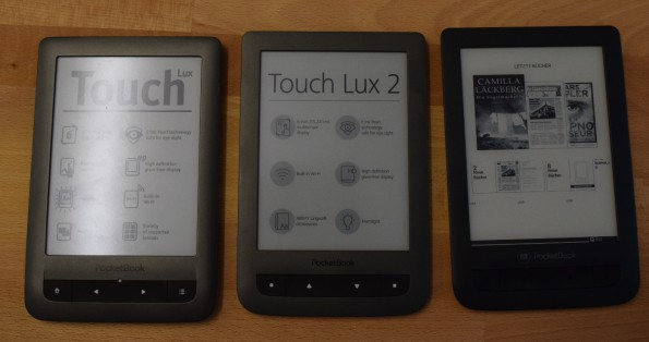 Pocketbook Touch Lux 1, 2, 3 (v.l.n.r.)