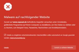 Chrome-Warnung vor sopcast.de
