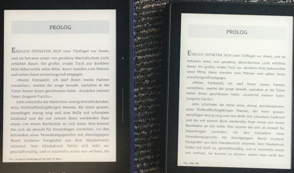 Kindle Voyage mit Bookerly links, Kindle Oasis mit Ember rechts (beide unbeleuchtet)