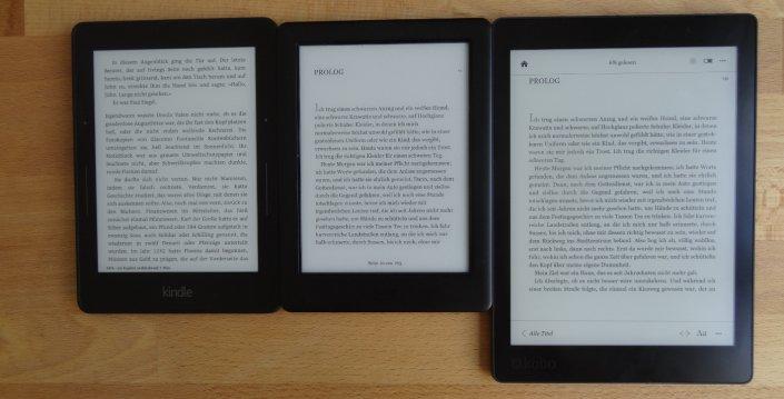 Von links: Kindle Voyage, Kobo Glo HD, Kobo Aura One (alle 0% Beleuchtung)