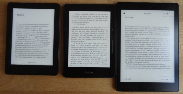 Von links: Kindle Voyage, Kobo Glo HD, Kobo Aura One (alle 0% Beleuchtung)